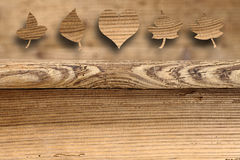 Old antique wooden tables with leaves and heart Stock Photography