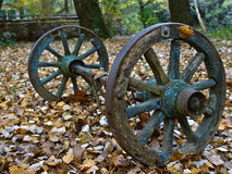 Old antique wooden wheels Royalty Free Stock Photo