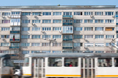 Old apartment block and tram Royalty Free Stock Photo