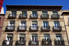 Old Apartment Building Facade in Madrid Stock Photography