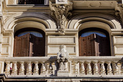 Old Apartment Building Details in Madrid Stock Image