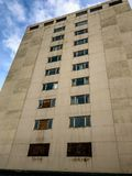 Old apartment building. Derelict old concrete appartment building royalty free stock images