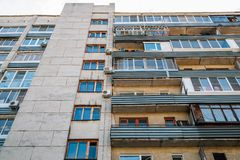 Old apartment building in Russia stock photo