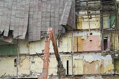 Old Apartment Buildings. Destruction of Old Apartment Buildings stock photography