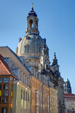 Old apartment buildings and the Frauenkirche. In the back Royalty Free Stock Photos