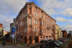 Old apartment house in Bydgoszcz, Poland. Old renovated apartement house in eclectic historic style from 19th century in Bydgoszcz, kujawsko-pomorskie region in Royalty Free Stock Image