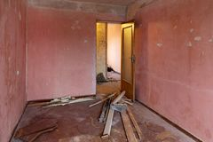 Old apartment room before complete renovation royalty free stock image