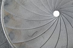 Old Aperture - Exposure Diaphragm. Technical detail of the old aperture - light curtain - exposure diaphragm Royalty Free Stock Photo