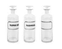 Old apothecary bottles. Vintage empty apothecary bottles with labels- Camphor and Castor oil on a white background Royalty Free Stock Photography
