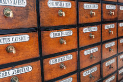Old apothecary drawers Royalty Free Stock Photo