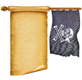 Old apper scroll with pirate skulls and flag stock photography