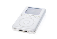 Old Apple iPod Classic 3rd Generation 15Gb 2003 mp3 player. Vintage used and worn white Apple iPod mp3 player isolated on white background Royalty Free Stock Image