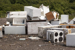 Appliances at the landfill. Old appliances at the landfill site Royalty Free Stock Images