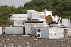 Appliances at the landfill. Old appliances at the landfill site Stock Photo