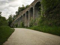 Aqueduct bridge to transport water stock images