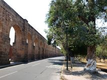Old aqueduct in the city  of Morelia, Michoacan, travel and tourism in Mexico. Old aqueduct city morelia michoacan travel tourism mexico arch arches stone style royalty free stock photography