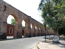 Old aqueduct in the city  of Morelia, Michoacan, travel and tourism in Mexico. Old aqueduct city morelia michoacan travel tourism mexico arch arches stone style stock photography