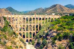Old aqueduct in Nerja, Spain Royalty Free Stock Photos