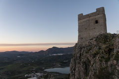 Old Arab castle of Zahara de la Sierra in the province of Cadiz, Andalusia, Spain Royalty Free Stock Photography