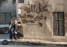 Old arab men in aleppo syria old town street Stock Image