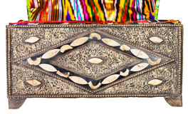 Old arabic Casket with textile upholstery isolated Royalty Free Stock Photography