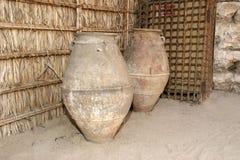 Old Arabic pitchers, Dubai museum, United Arab Emirates,UAE Royalty Free Stock Images