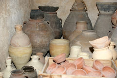Old Arabic pitchers, Dubai museum, United Arab Emirates,UAE Royalty Free Stock Photography