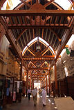 Old arabic souq and people walking in dubai royalty free stock photography