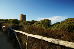 Old aragon tower. The old aragon tower in sardinia and wood fence Royalty Free Stock Photography