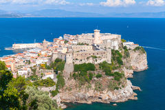 Old Aragonese-Angevine Castle, Gaeta, Italy. Old Aragonese-Angevine Castle stands on rocky cliff in old town of Gaeta, Italy Stock Image