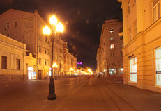 Old Arbat street in Moscow by night. Old Arbat street in Moscow, Russia by night, September 2015 Stock Image