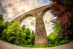 Old arch bridge in Germany. Old railway arch bridge in Velbert, Germany Royalty Free Stock Photography