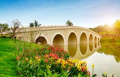 Old arch bridge on the lake in China. Old style stone Chinese arch bridge in a green garden pond in Beijing, China Royalty Free Stock Photography