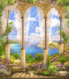 Old Arch overlooking the sea, mountains. Around the flowers, bushes. Sunny day royalty free stock image