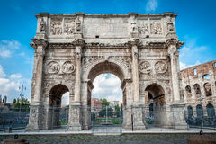 The old Arch of Constantine in Rome Stock Photos