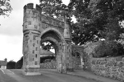 Old Arch. A view of an old stone archway leading to the castle in Burntisland Stock Image
