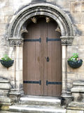 Old arched church doorway. Closeup of old arched church doorway, St. Andrews, Scotland Royalty Free Stock Image
