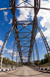 Old arched metal bridge Royalty Free Stock Photography