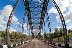 Old arched metal bridge Royalty Free Stock Photos