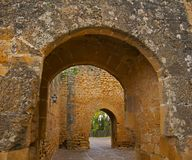Old arched passage in the ancient castle. Winter, Spain royalty free stock photography