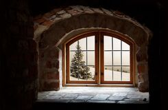 Old arched window Stock Photo