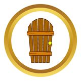 Old arched wooden door vector icon, cartoon style Stock Photography