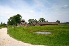 Old archeological settlement in Biskupin. Old archeological settlement in Biskupin, Poland Stock Photo