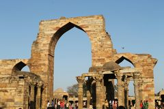 Old architechture. Qutub minar, old architechture Stock Photography