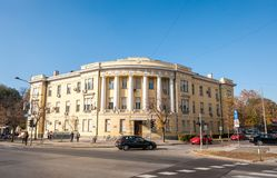 Old architectural detail and facade of the Serbian building in the city view from the street. stock image
