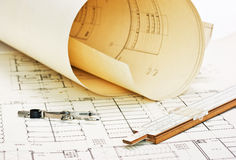 Old architectural drawing royalty free stock images