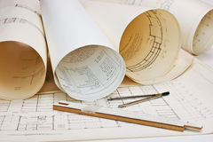 Old architectural drawing stock photos