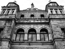 Old Architecture. An upwards view of an old building in black and white Royalty Free Stock Image