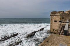 Old architecture on alghero city. Dark weather in alghero on the italian island of sardinia or sardegna stock photos