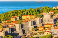 Old architecture in Croatia, Dubrovnik`s fort Minceta. Stock Photos